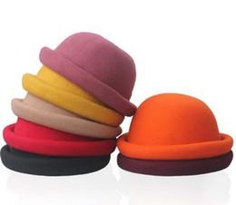 Wholesale Ladies Wool Church Hat - Korean Style Fashion Hats Women Dome Wool Caps Ladies Round Hat Womens Edge Roll Cap 10colors