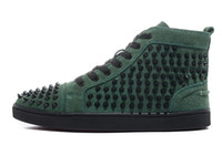 Wholesale Man Spike Street Shoe - New 2016 Men and Women's Green Matte Leather with Black Spikes High Top Sneakers Causal Sports Shoes Designer Men Flat Street Running Shoes