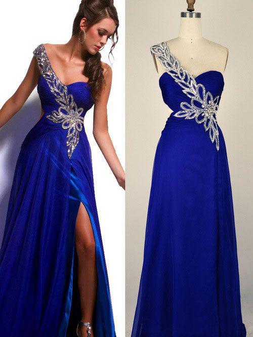 Royal Blue Long Big Size Women Dress Evening Dress Nice