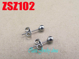 Wholesale Stick Stainless Hooks - sales promotion hot 4mm stainless steel ball ear nail ear hook earring fashion punk Jewelry 30pair