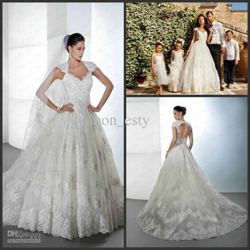 Vintage Ball Gowns Lace Cap Sleeves Peach Hearts Back Beaded Ruffle ...