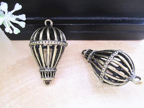 Pingente de paraquedas de bronze antigo charme 21mmx36mm 10 pçs / lote