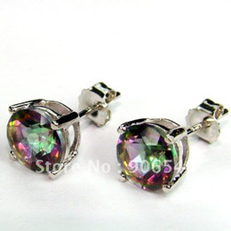 Wholesale Sterling Silver Mystic Topaz Earrings - 7.0 MM Stud Earring Mystic Topaz Christmas Gift 100% 925 Silver DR0300752E Free Shipping