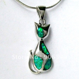 Wholesale Fire Opal Necklace Sterling - Fashion jewelry Kitty Opal Pendant Green necklace Fire opal Silver Rhodium Plated DSC04285 Free Shipping