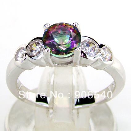 Fashion jewelry Engagement Ring 925 Sterling Silver mystic Topaz Rhodium plating DR80344PA-3.5G Free Shipping
