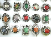 Wholesale Turquoise Jewerly Wholesale - wholesale jewerly lots 10pcs Mixed Natural stone Vintage Silver Fashion Rings