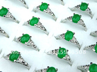 Wholesale Tibet Jade Woman Rings - Unisex 100pcs Wholesale Jewerly Lots Malay Jade Silver Plated Fashion Woman Rings Mix Size Hot Sell