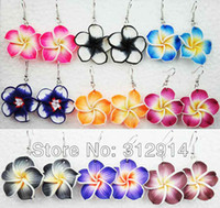 Wholesale Dangle Resin Flower - 10Pairs Mix Colored Fimo Polymer Clay Fashion Flower Earrings Freeshipping Hotsell Best Gifts