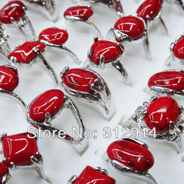 Wholesale Ruby Stone Rings - Freeshipping 10pcs Wholesale Jewerly lots Fashion Red turquoise Mix Silver P Rings