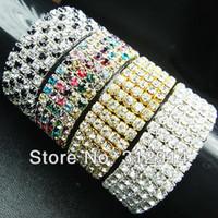 Wholesale Colored Rhinestone Bracelets - 4PCS Wholesale Charming Colored 5laps Full Top CZ Rhinestones Trendy Fashion Bracelet Bangles
