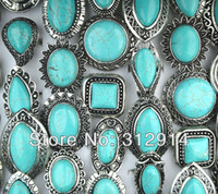 Wholesale Tibet Natural Turquoise - wholesale Jewelry Lots 5pcs Natural Turquoise Tibet Silver Fashion Mix Rings