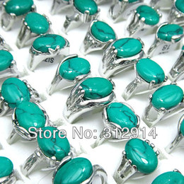Wholesale Turquoise Silver Jewelry Wholesale China - Wholesale Jewelry Lots 10Pcs Turquoise Silver Rings Mixed Free Shipping