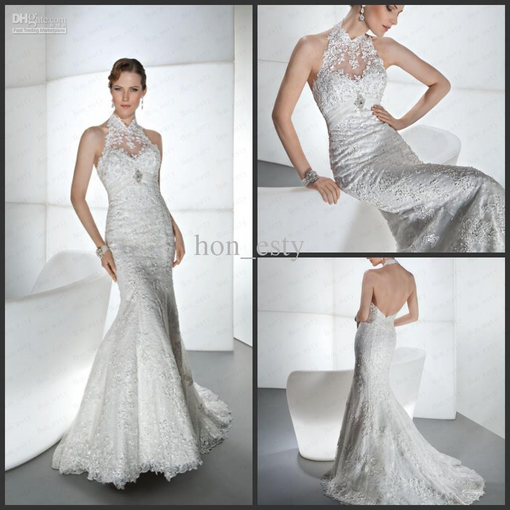 Mermaid Wedding Gowns Lace Halter Backless Crystal Bead Beading Ruffle Bridal Dresses Demetrios 1445 Long Sleeve Mermaid Wedding Dresses Mermaid Style