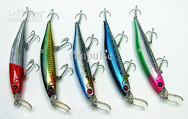 nuevos señuelos de pesca minnow pesca de mar cebos duros labio plástico gancho VMC flotante cinco colores 25g / 12.5cm