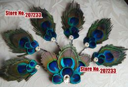 Wholesale Peacock Bridal Fascinator - Peacock Feather Hair Clip Bridal Fascinator, wedding hair accessories, bridal +6 bridesmaids peacock bobby pins 1set