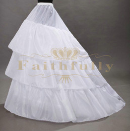 Wholesale Ivory Cathedral Petticoat - 2017 New Arrival Crinoline Petticoats Three Hoops Three Layer Underskirt With Long Train Wedding Dresses Petticoats Cheap