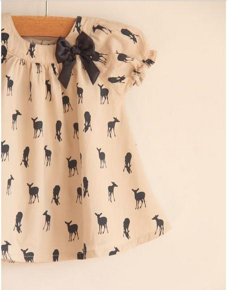2016 verano vestido de bebé de la marca niños ropa fawn bowknot camisas del bebé faldas niñas camisetas topwear niños