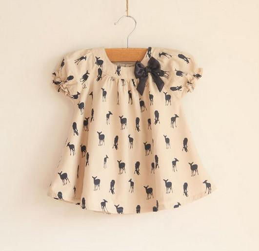 best selling 2016 Summer baby dress Brand children clothes fawn bowknot baby shirts skirts girls tshirts kids topwear