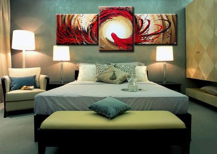 벽화 추상 피닉스 유화 캔버스 현대 홈 오피스 호텔 벽 예술 장식 수제