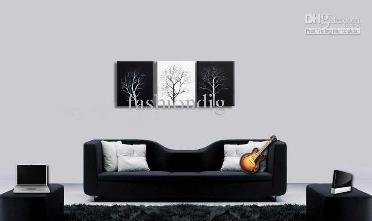 Acheter abstrait mur arbre noir blanc peinture À lhuile toile