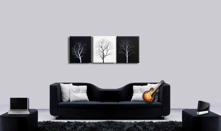 Árbol de la pared abstracto Negro Blanco lienzo pintura al óleo Simple paisaje moderno obras de arte moderno Home Office decoración de arte de la pared Hecho a mano