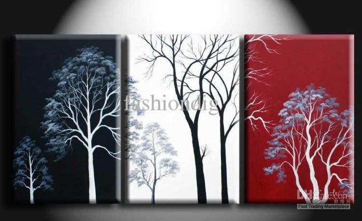 Árbol de la pared abstracto negro blanco rojo pintura al óleo lienzo paisaje oficina en casa hotel arte de la pared decoración decoración obra de arte hecha a mano