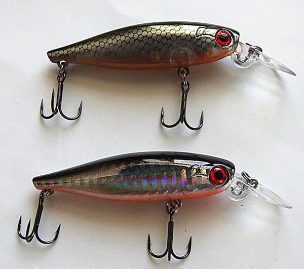 6.6cm 7.8g Minnow Bait Fishing Señuelo cebo duro plástico labio VMC gancho suspensión de cinco colores