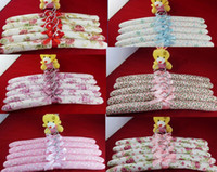 Wholesale TOP Satin Padded Coat Clothes Hook Hangers New W Ribbon for CHILDRENS Dresses COATS KIDS