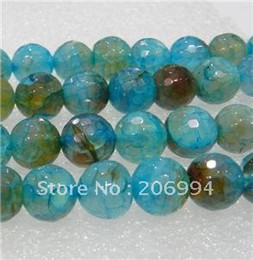 "Wholesale Dragon Vein Agate Blue - new arrive 8mm Faceted Blue Dragon Veins Agate Round Loose Bead 15"" 2pc lot fashion jewelry"
