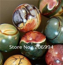 "Wholesale 8mm Round Jasper Beads - Wholesale natural 8mm picasso jasper gemstone round ball loose bead strand 15"" 2pc lot fashion jewelry"