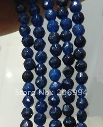 "Wholesale Gemstone Loose Beads Sapphire - Wholesale 4mm Faceted Deep Blue Sapphire Gemstone Loose Beads 15"" 2pc lot fashion jewelry"