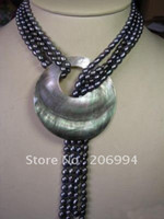 Wholesale Long Pearl Necklace Designs - new arrive design Charming long black Freshwater pearl necklace shell pendant lowest fashion jewelry,gift free shipping