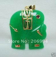 Wholesale Real Green Jade - real jade jewelry Beautiful Green Jade Elephant necklace pendant free shipping free chain 2pc lot