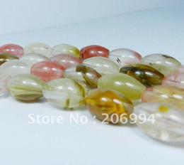 Wholesale loose tourmaline - Wholesale 8x12mm Watermelon Tourmaline Gems Rice Loose Bead 15' 2pc lot free shipping