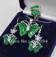 Wholesale Necklace Earring Bracelet Set Jade - Wholesale jewelry natural green jade earring Pendant Necklace ring set #059 fashion jewelry set