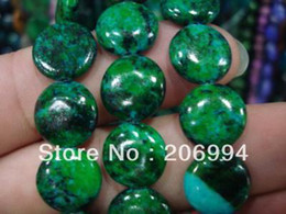 """Wholesale Gemstone Coin Beads - free shipping new arrive 12mm Azurite Chrysocolla Coin Gemstones Loose Bead 15"""" 2pc lot fashion jewelry"""