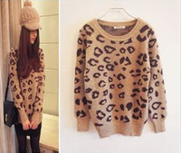 Wholesale Leopard Long Sleeve Sweater Fashion - Fashion Leopard sweater Women Knitting sweater free shipping ,2 color