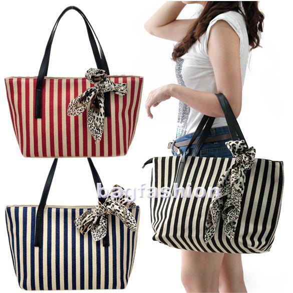 Womens Bags Fashions Girls Casual Stripe Canvas Handbag Designer ...