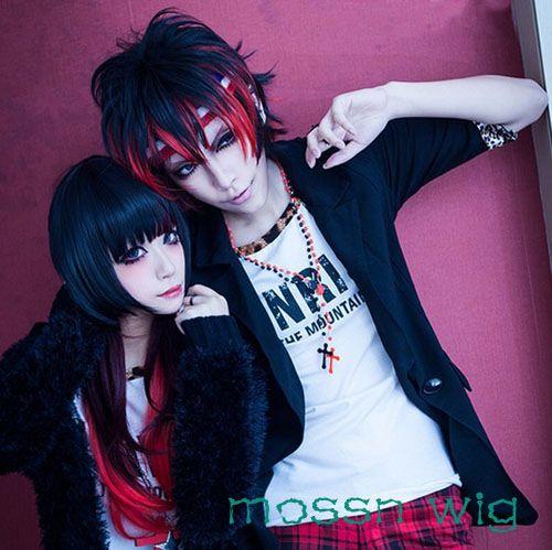 Beauty Harajuku Zipper Amo Special Black Red Cosplay Hair Anime