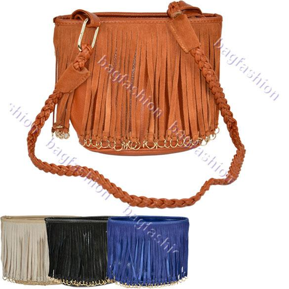 Ladies Handbag Small Bag Woven Shoulder Strap Leather Bag Tassel ...