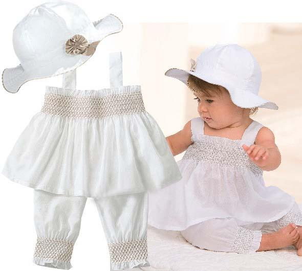 Baby Suit Infant Outfits Girls White Sun Hat Children Tank Tops Summer Shorts Kids Sets Condole Belt