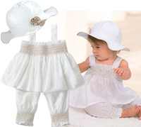 Wholesale Girls Sun Suits - Baby Suit Infant Outfits Girls White Sun Hat Children Tank Tops Summer Shorts Kids Sets Condole Belt