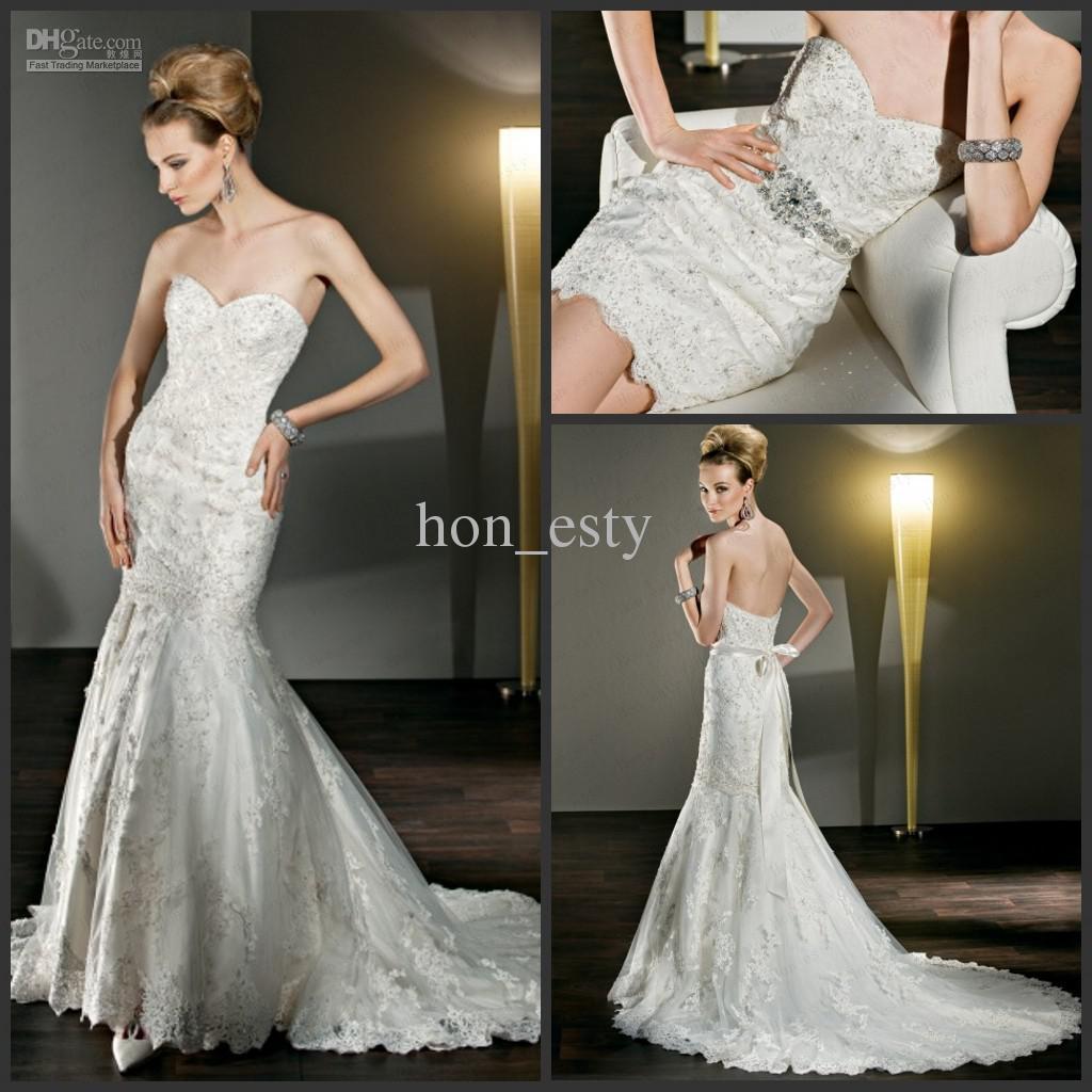 Autumn Cute Wedding Gowns Lace Strapless Detachable Skirt Crystal Beading Beaded Belt Demetrios 2855 Dresses Mermaid Dress From