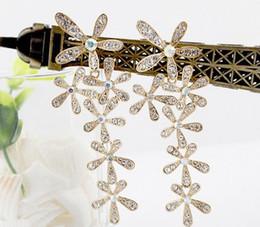 Wholesale Ear Drops Earrings Diamonds - Hotsale Bohemia silver Gold Plated Rhinestone Snowflake Drop Ear Stud Earrings 12pairs lot