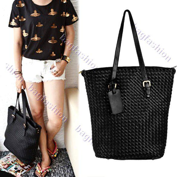 Trend Women Shoulder Bag Black Leather Cross Body Handbag Woven ...
