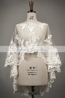 Wholesale Tulle Bridal Capes - Real Wedding Capes Mantles Capelets 2014 Lace Trimmed Edged Boat Neck Wedding Bridal Dresses Accessary