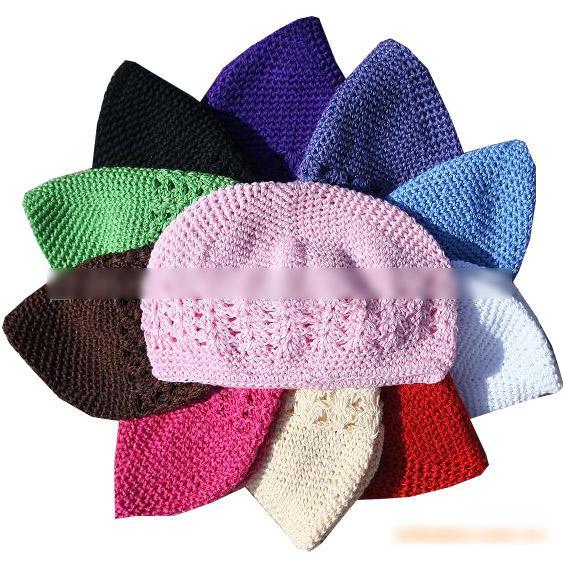 Gorros para niños Bebé algodón kufi sombreros bebé hecho a mano Crochet sombrero Multicolor 50 unidslote