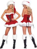 kadınlar için kırmızı santa elbisesi toptan satış-Cosplay fantasias Bayan Santa Kostümleri Kadın Seksi Noel Lingerie 3 Parça Kırmızı Kadife Noel Korse Setleri Kıyafet Fantezi Noel elbise 7173