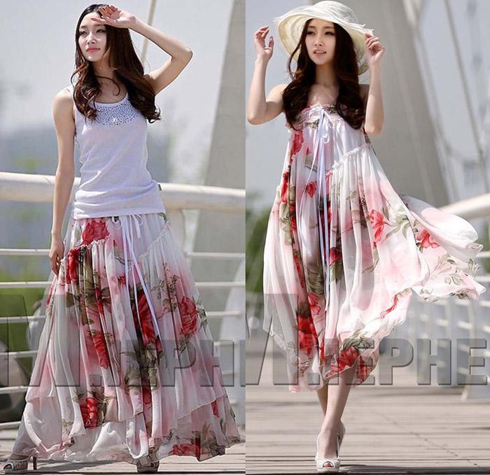 Summer Dresses Plus Size Women Floral Print Chiffon Dress Strapless