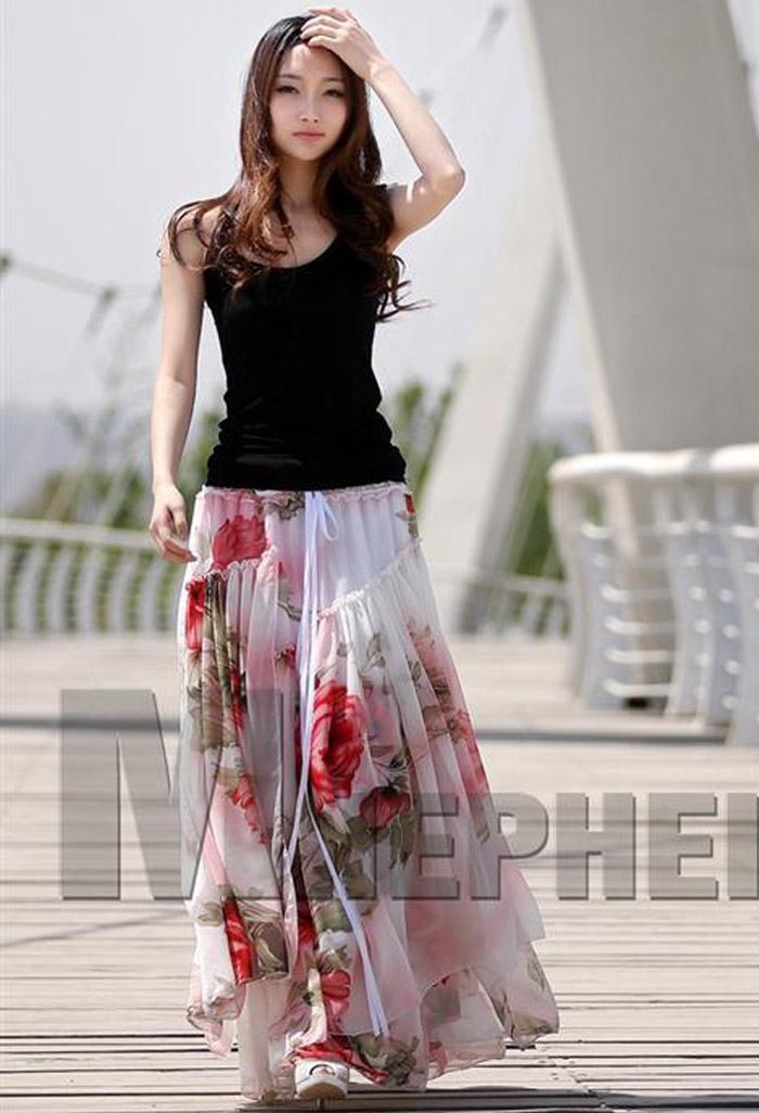 Zomer jurken plus size vrouwen floral print chiffon jurk strapless ruche lange rokken bohemian beach party jurken